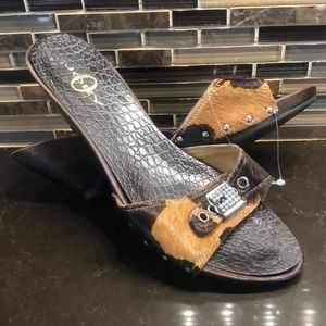Joey cowhide bling wooden kitten heel shoes